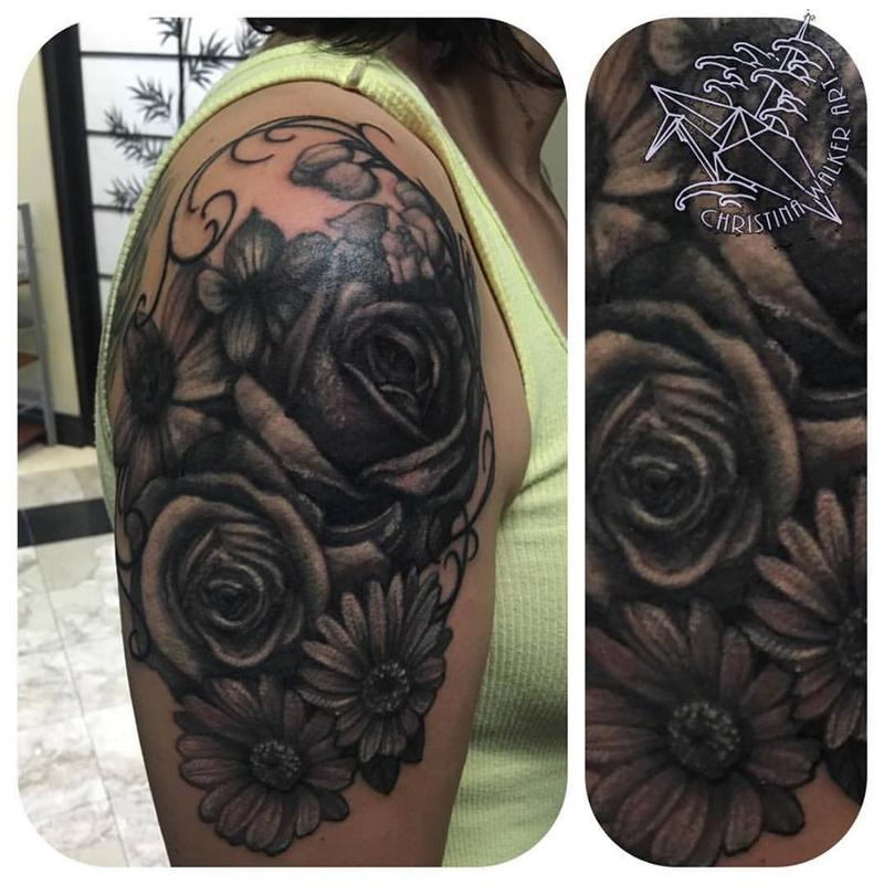 Floral Black And Grey Nature Tattoo: Black And Gray Floral Half Sleeve By Christina Walker