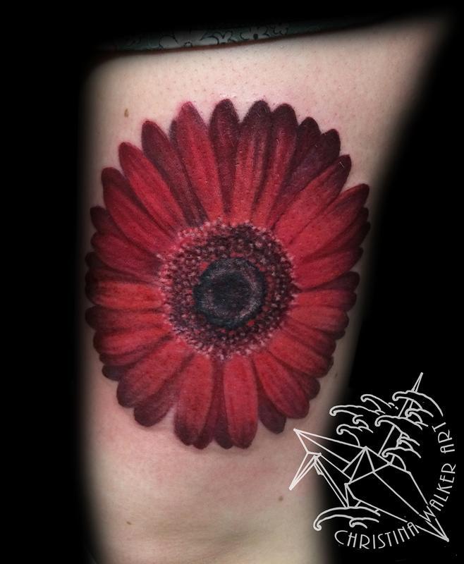 Lucky Bamboo Tattoo : Tattoos : Nature : Red Gerbera Daisy