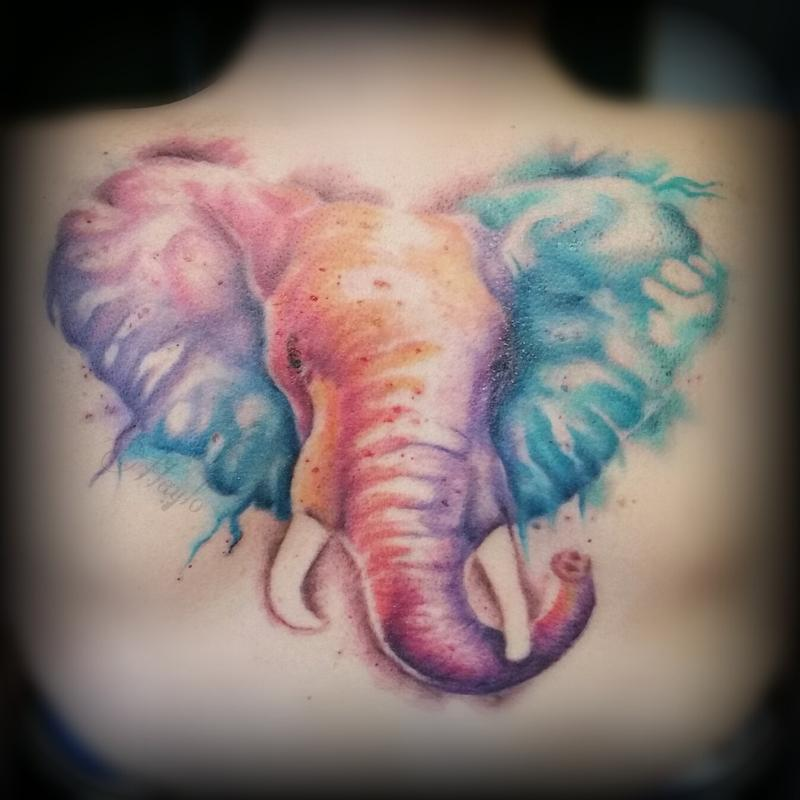 Watercolor Bamboo Tattoo: Watercolor Style Elephant Back Piece By Haylo : Tattoos