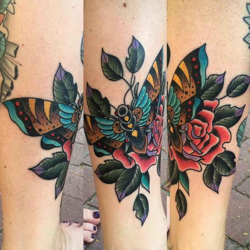 f5cdf0fc2 Rebel Muse Tattoo : Tattoos : Traditional O : Moth w/ a Rose