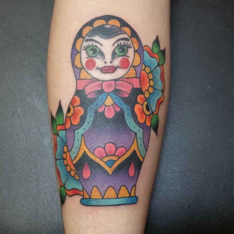 e00365455 Rebel Muse Tattoo : Tattoos : Traditional O : Russian Doll w/ Flowers