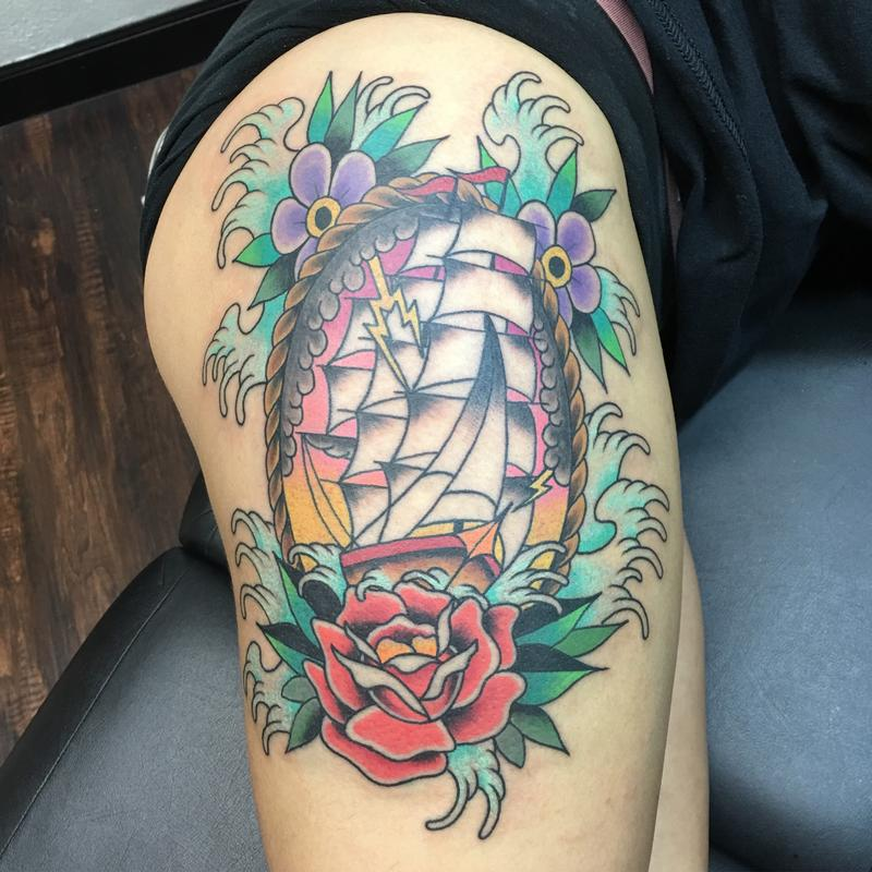 038562d01 Scenic Ship w/ Flowers by Cody Hennings : Tattoos