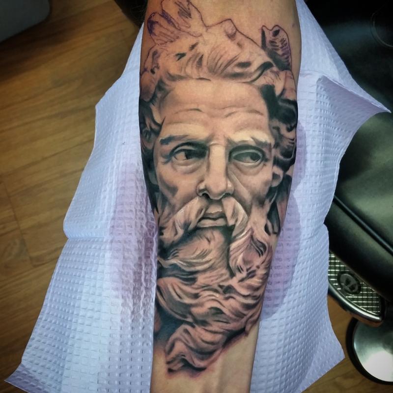 Poseidon Staff Tattoo: PowerLine Tattoo : Tattoos : Mike Romasco : Poseidon