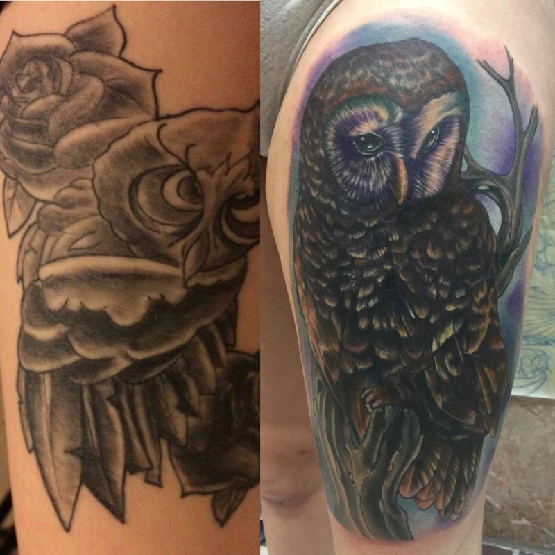 5d3cda2af Altered Images : Tattoos : Realistic : Owl cover up