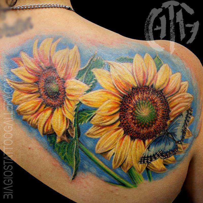 Sunflowers With Blue Butterfly By Rob Talo Tattoos