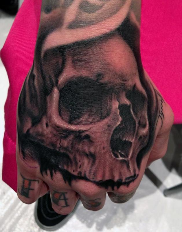Skull Hand Tattoo By Bob Tyrrell Tattoos