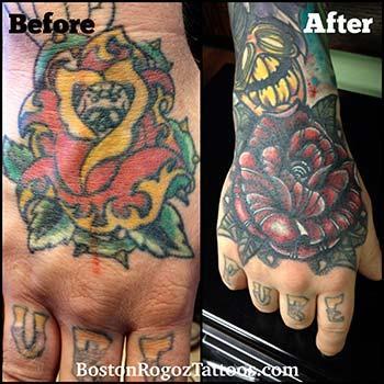 Boston Rogoz Tattoo Tattoos Color Rose Cover Up Hand Tattoo