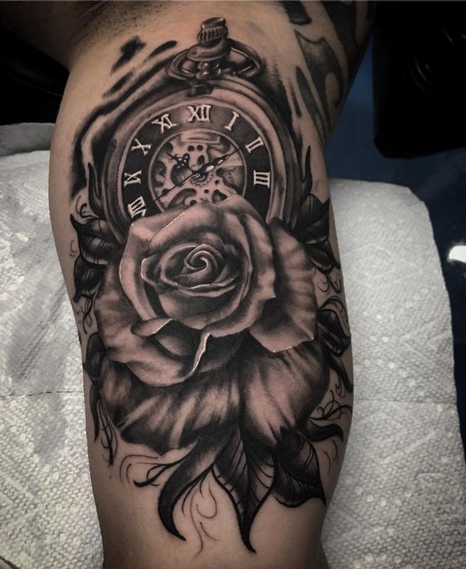 Black And Gray Clock And Skull Tattoos On Bicep: Daddy Jacks Body Art Studio : Tattoos : Jake Hand : Black