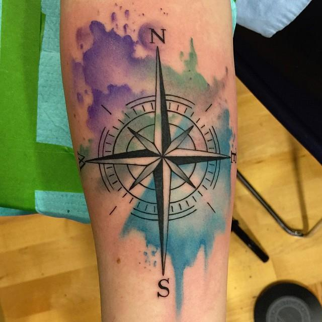 Rebel Muse Tattoo Tattoos Small Abstract Watercolor Compass Tattoo
