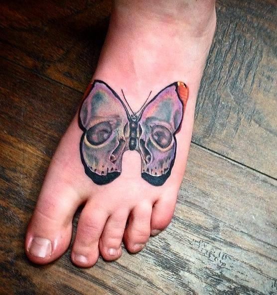 0908ff3135e4e Deft Tattoo Studio : Tattoos : Body Part Foot : Butterfly skull