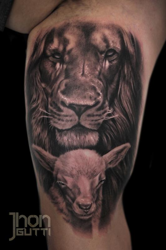 f7df773a8 Jhon Gutti : Tattoos : Religious : LION AND LAMB