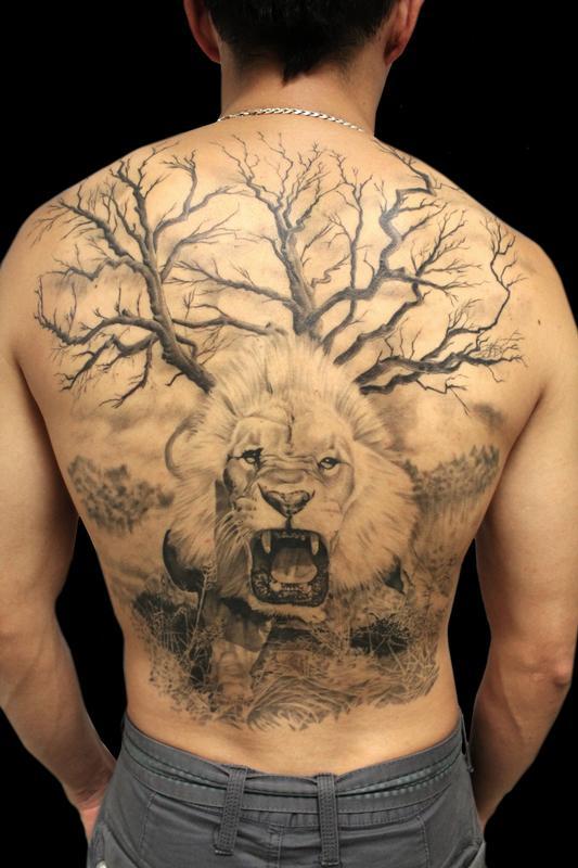 65a0b75802ba5 Jhon Gutti : Tattoos : Realistic : Full Back Lion Piece