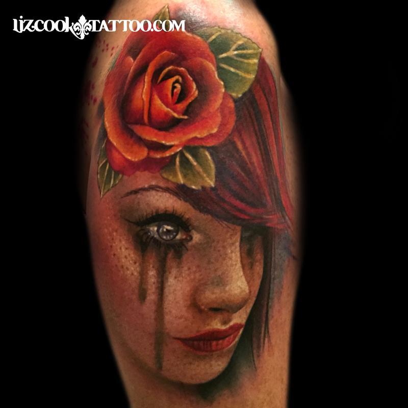 Tattoo Woman Portrait: Rebel Muse Tattoo : Tattoos : Liz Cook : Freckled Girl