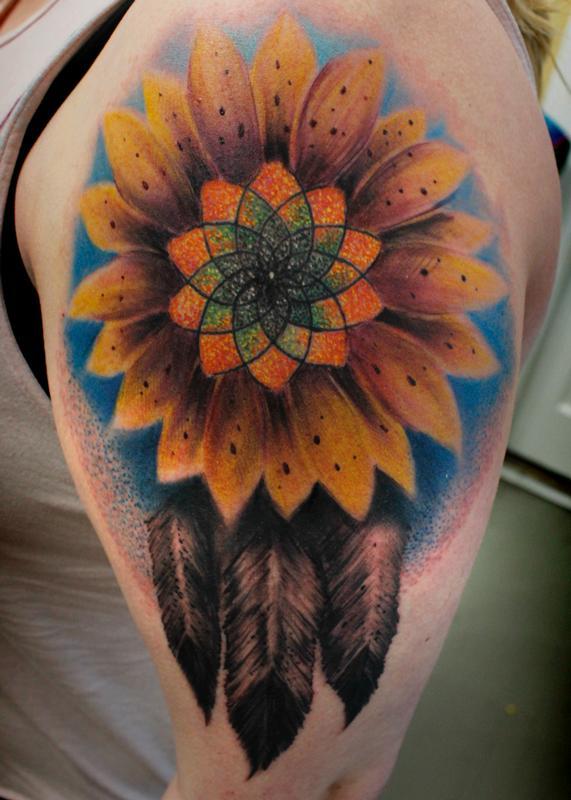 Dreamcatcher Sunflower By Steve Phipps   Tattoos