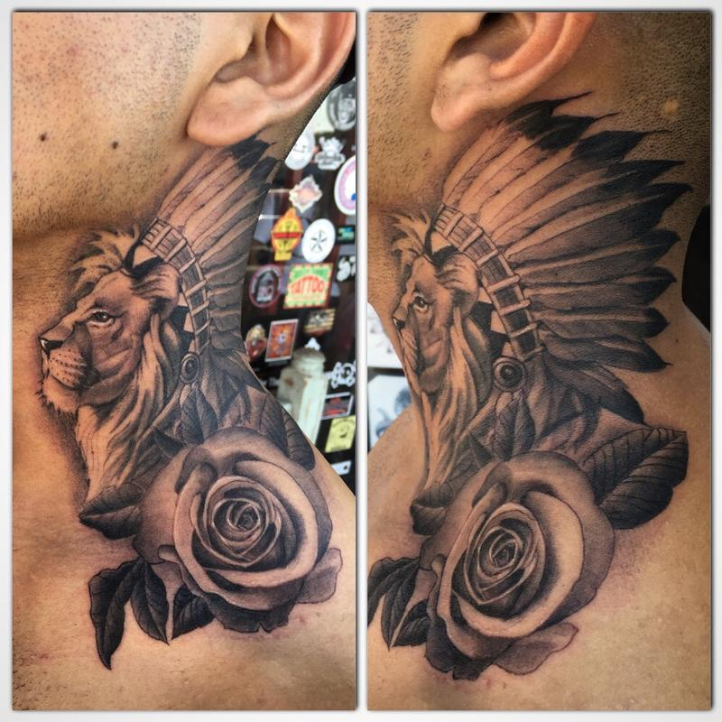 Mizu Tattoos Illustrations Lion With Headdress