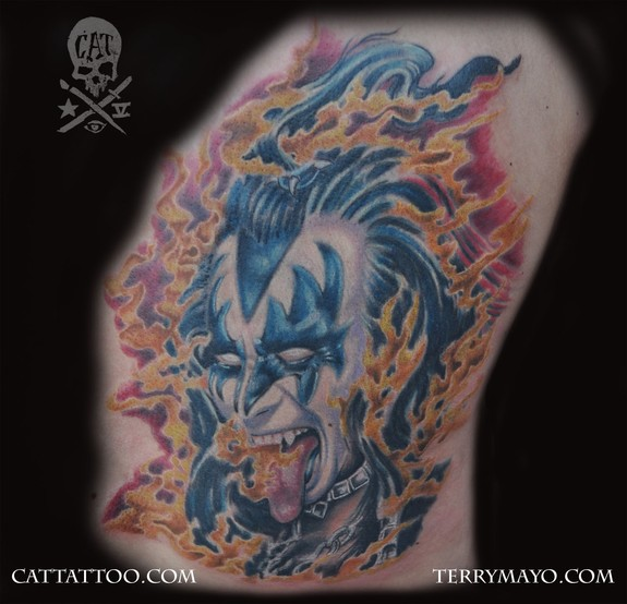 The demon from kiss by terry mayo tattoos for Cat tattoo addison