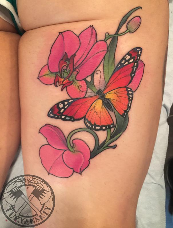 butterfly and flowers tattoo by oleg turyanskiy tattoos. Black Bedroom Furniture Sets. Home Design Ideas