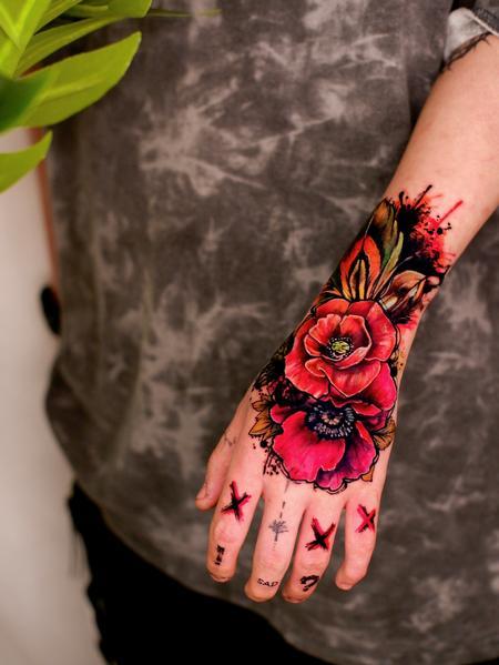 tattoos/ - Watercolor Rose Hand Tattoo - 143091