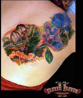 tattoos/ - Realistic Bug and Flower Tattoo - 66115