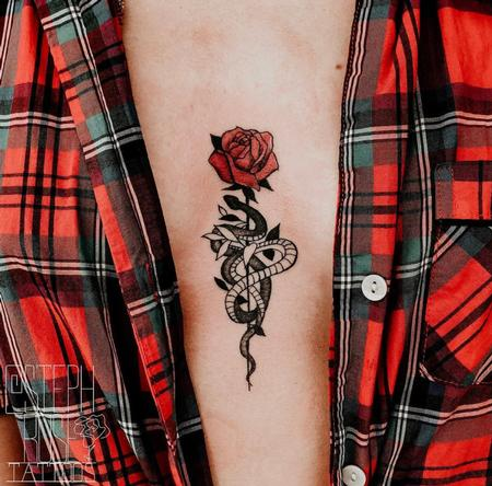 tattoos/ - Sternum Snake and Rose Tattoo - 141257