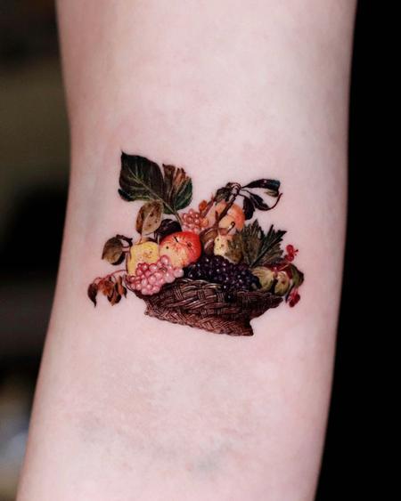 tattoos/ - Realistic Fruit Bowl Tattoo - 143374