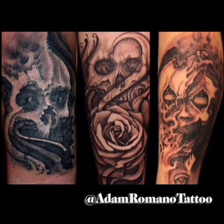 tattoos/ - Collection of freehand black and grey Macabre tattoos  - 130137