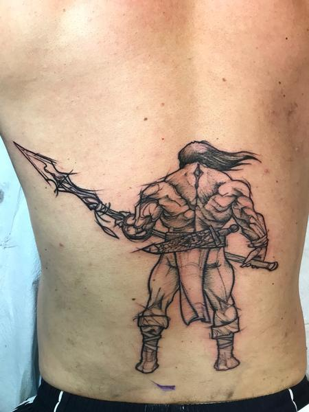 tattoos/ - Sketchy barbarian start of full back - 130693