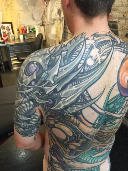 tattoos/ - Biomech Back and Shoulder Tattoo - 114801