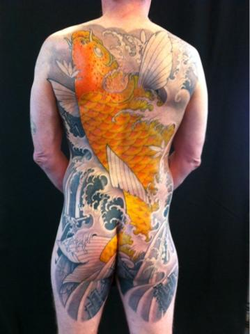 tattoos/ - Golden Koi Backpiece Tattoo - 67051