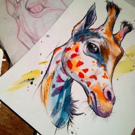 Art Galleries - giraffe watercolor tattoo design - 109600
