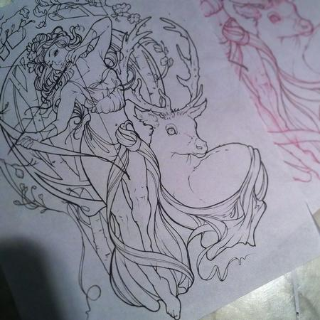 Art Galleries - Art Nouveau Artemis tattoo outline - 109601