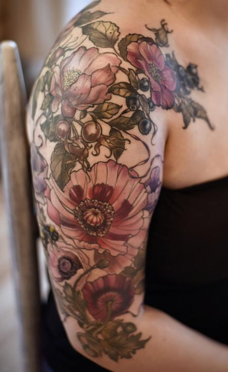 tattoos/ - vintage poppy rose hip tattoo - 141013