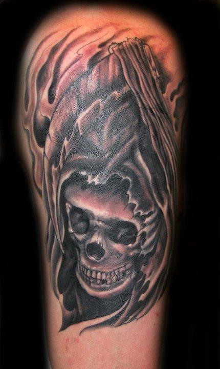 tattoos/ - Black and Grey Skull Tattoo - 65654