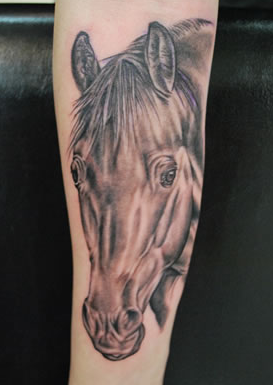 tattoos/ - Realistic Black and Grey Horse Tattoo - 61635