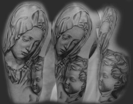 tattoos/ - Black and Gray Mother and Son Tattoo - 67652