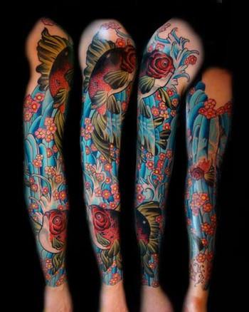 tattoos/ - Goldfish Sleeve Tattoo - 38926