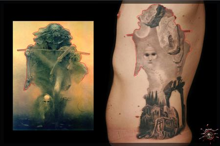tattoos/ - Using the outline of the painting as the frame of the tattoo [Chris D.] - 59057