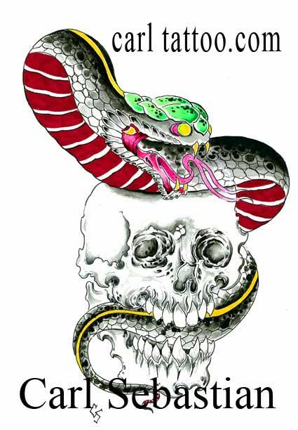 Art Galleries - snake ans skull watercolor - 77572