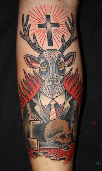 tattoos/ - Traditional Style Deer Tattoo - 61598
