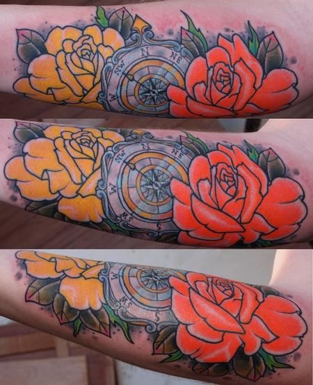 tattoos/ - Compass and Roses Tattoo - 55229