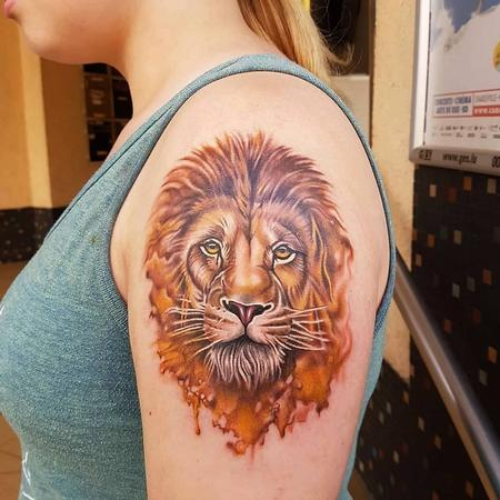 tattoos/ - Watercolor Lion Tattoo - 133849