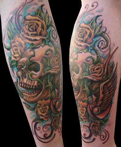 tattoos/ - Realistic Skull and Roses Tattoo - 25449