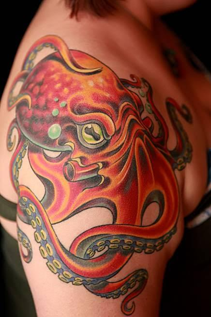 tattoos/ - Color Octopus Shoulder Tattoo - 115644