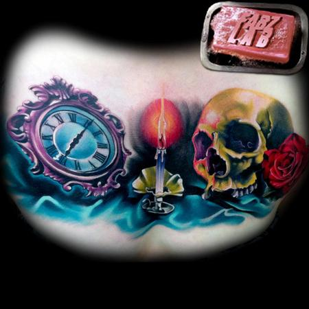 tattoos/ - Skull, Candle, Time Chest Piece Tattoo - 62178