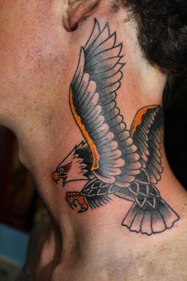tattoos/ - Traditional Eagle Neck Tattoo - 61639