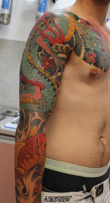 tattoos/ - Japanese Dragon and Koi Fish Sleeve - 61637