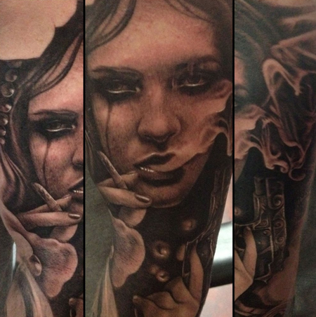 tattoos/ - Black and Grey Portrait Tattoo - 66299