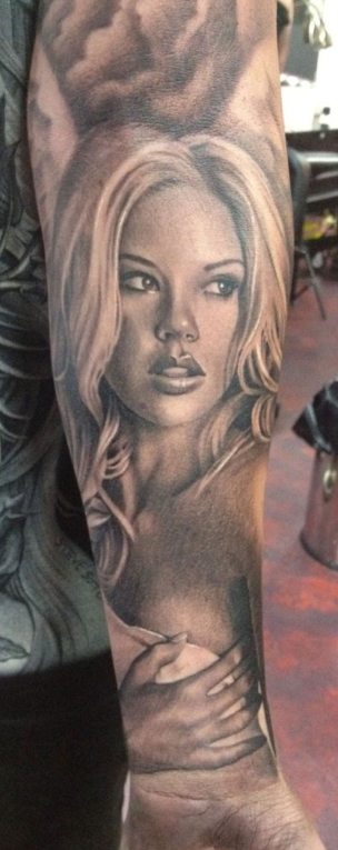 tattoos/ - Black and Grey Portrait Tattoo - 66301