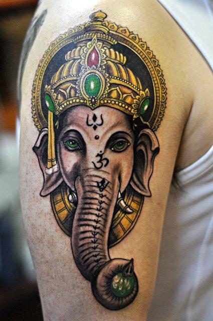 tattoos/ - Color Elephant Tattoo - 61602