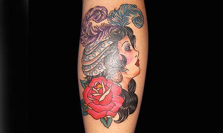 tattoos/ - Traditional Girl Tattoo - 61612